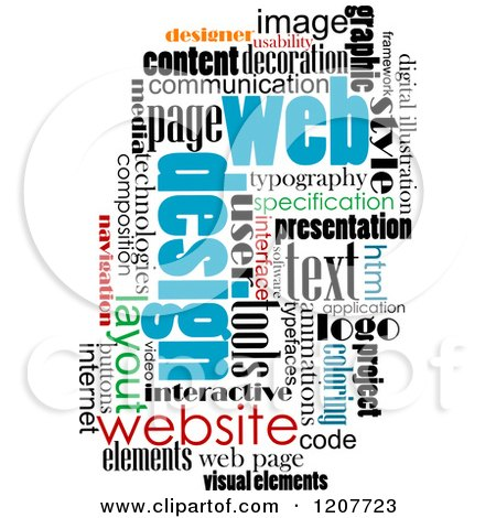Clipart of a Web Design Word Collage - Royalty Free Vector