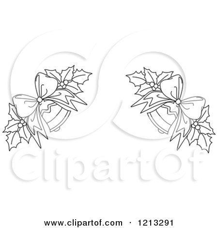 Clipart of a Black and White Christmas Holly and Bells Border