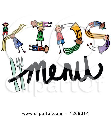 Clipart of Alphabet Stick Children Forming a Word in Kids Menu