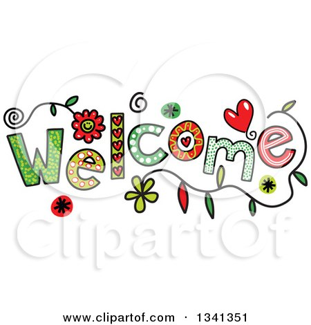 Clipart of a Colorful Sketched WELCOME Word - Royalty Free Vector