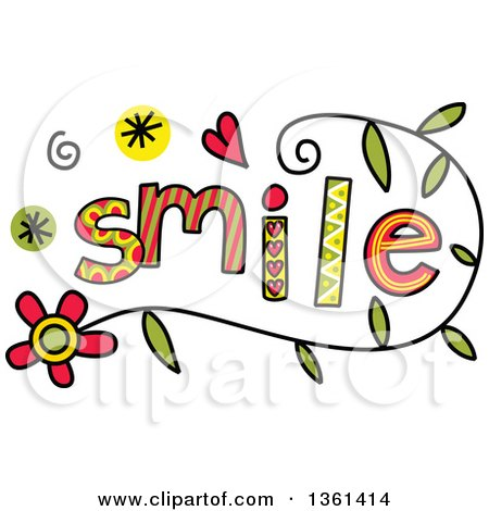Clipart of Colorful Sketched Smile Word Art - Royalty Free Vector