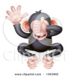 Cartoon Monkey Covering His Eyes