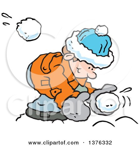Clipart of a Happy Caucasian Boy Bending over to Make a Snowball As