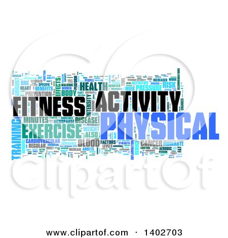 Clipart of a Fitness Activity Tag Word Collage on White - Royalty