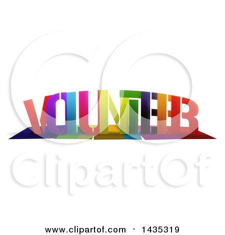 Clipart of a Colorful Word, VOLUNTEER, with Shadows, on White