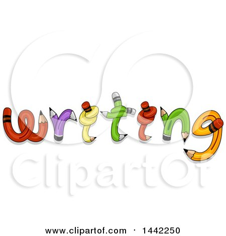 Clipart of the Word Writing Formed of Twisted and Knotted Pencils