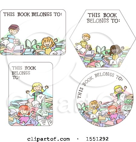 Clipart of Book Label Designs with Children - Royalty Free Vector