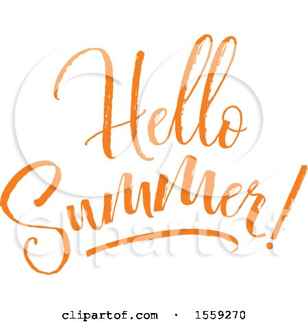 Clipart of an Orange Hello Summer Text Design - Royalty Free Vector