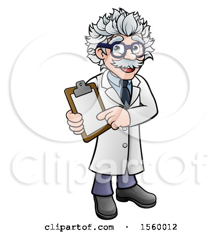 Clipart of a Happy Male Scientist Holding a Clipboard - Royalty Free