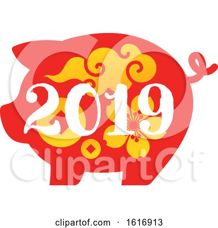 Clipart of a New Year 2019 Pig in Red with Yellow Flowers and