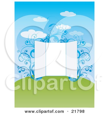 Clipart Picture Illustration of a Blank Open Presentation Board With