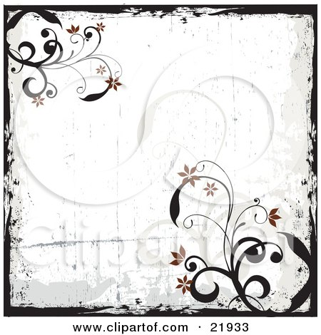 Clipart Picture Illustration of a Grunge Black Border With Vines And - black border background