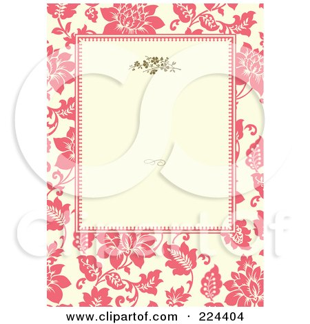 Royalty-Free (RF) Clipart Illustration of a Floral Invitation