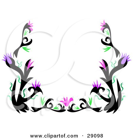 Clipart Illustration of a Stationery Border Of Black Tattoo Plant