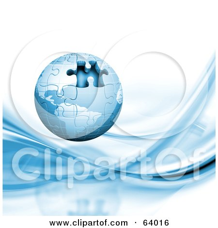 Blue 3d Globe Puzzle With One Missing Piece Over A White Background