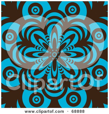 Retro Brown And Turquoise Flower Pattern Background Posters, Art