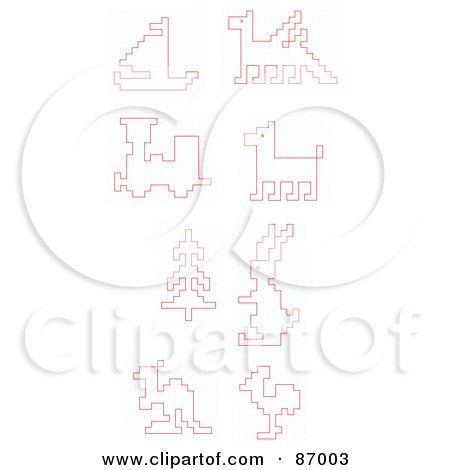 Royalty-Free (RF) Clipart Illustration of a Digital Collage Of Red - digital graph paper