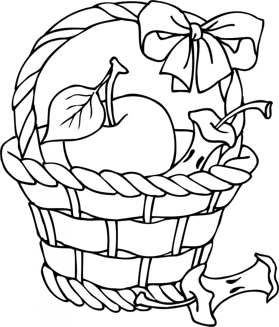 Folk Art Apple Bastket Printable Pattern Coloring Page