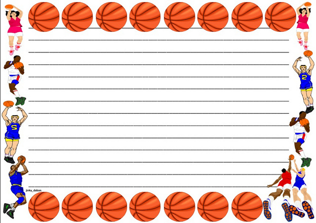 Basketball Themed Lined Paper Clipart Panda - Free Clipart Images - lined border paper