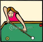 Woman Playing Pool Clip Art