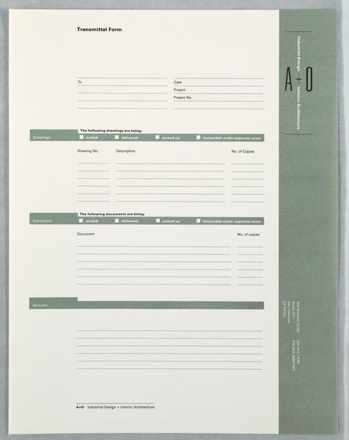 Transmittal Form, Stationary, A+O, Industrial Design + Interior - transmittal form
