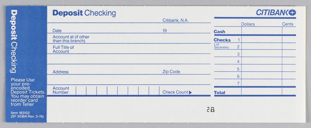 Print, Citibank checking deposit slip design, ca 1975 Objects