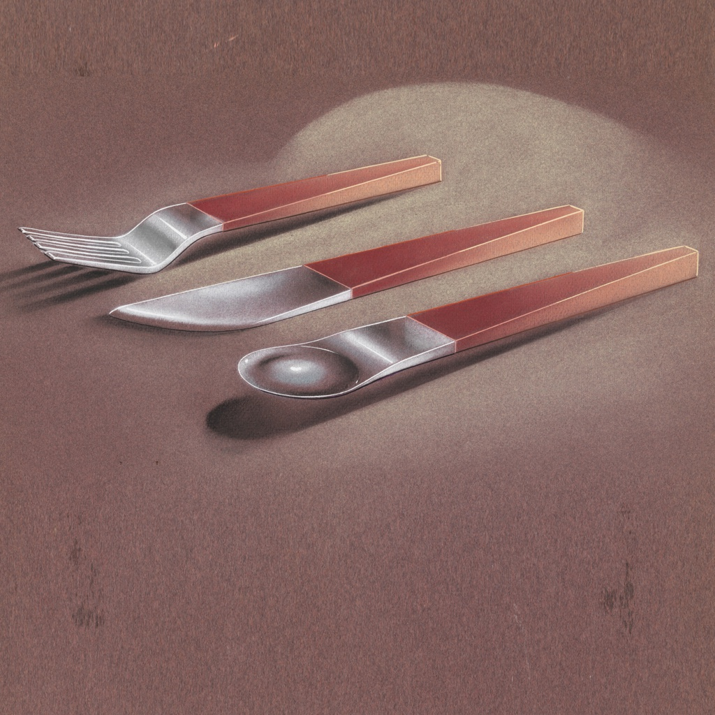 Red Handle Flatware Drawing Design For Flatware Fork Knife Spoon 1933 35