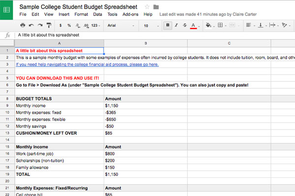Budgeting Basics for College Students, Plus Example Spreadsheet - Sample Budget Sheet