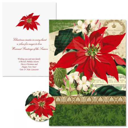 Winter Joy Poinsettia Christmas Cards Colorful Images