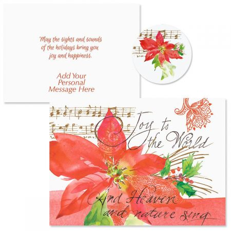 Poinsettia Melody Christmas Cards Colorful Images