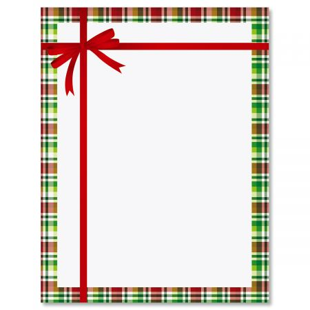 Tied Tartan Bow Christmas Letter Papers Colorful Images