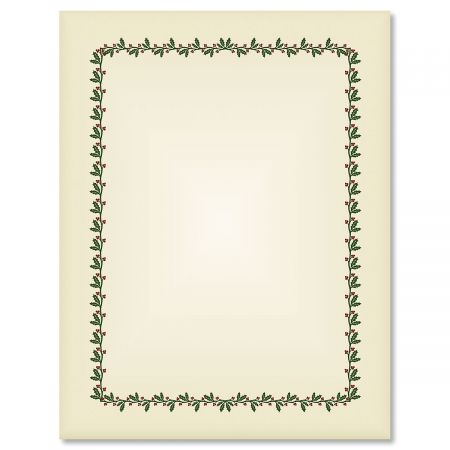 Ecru Holly  Berry Frame Christmas Letter Papers Colorful Images