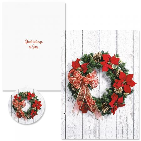 Poinsettia Wreath Christmas Cards Colorful Images