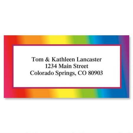 Rainbow Border Return Address Labels Colorful Images