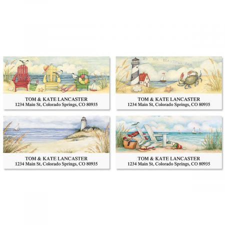 By the Beautiful Sea Deluxe Return Address Labels Colorful Images
