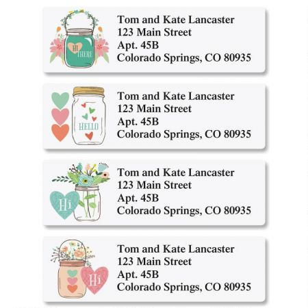 Mason Jar Classic Return Address Labels Colorful Images
