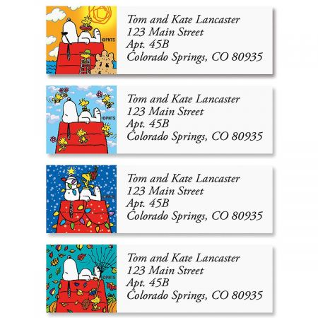 SNOOPY Four Seasons Classic Return Address Labels Colorful Images