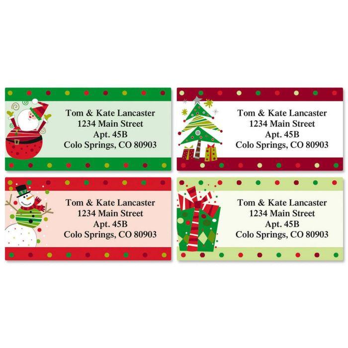 Fun Christmas Border Return Address Labels Colorful Images