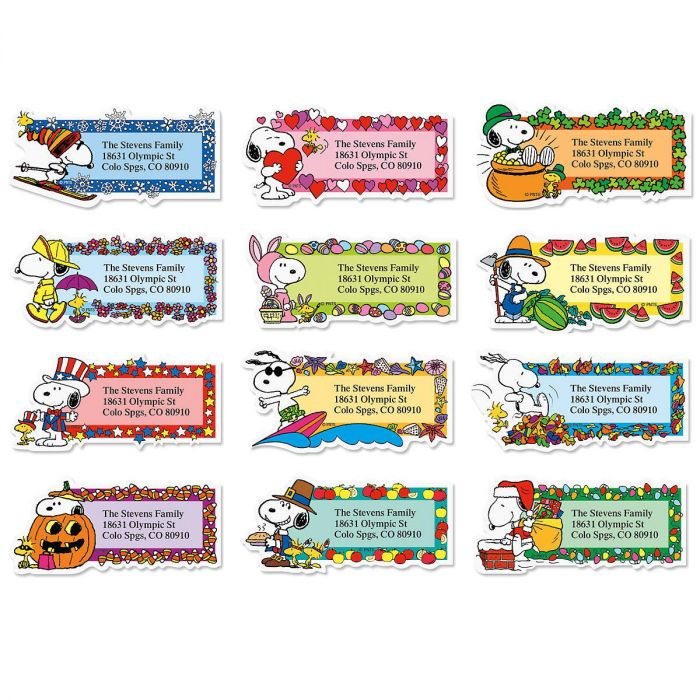 SNOOPY Seasons of Fun Diecut Return Address Labels Colorful Images
