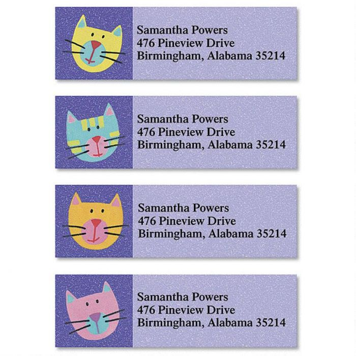 Fun Cats Classic Return Address Labels Colorful Images