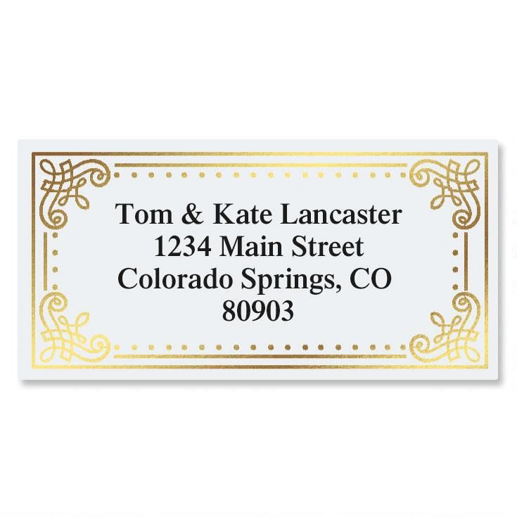 Delicate Antique Gold Foil Border Return Address Labels Colorful