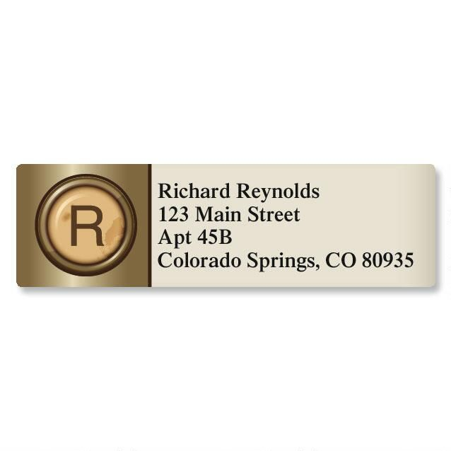 Typewriter Initial Classic Return Address Labels Colorful Images - Address Label