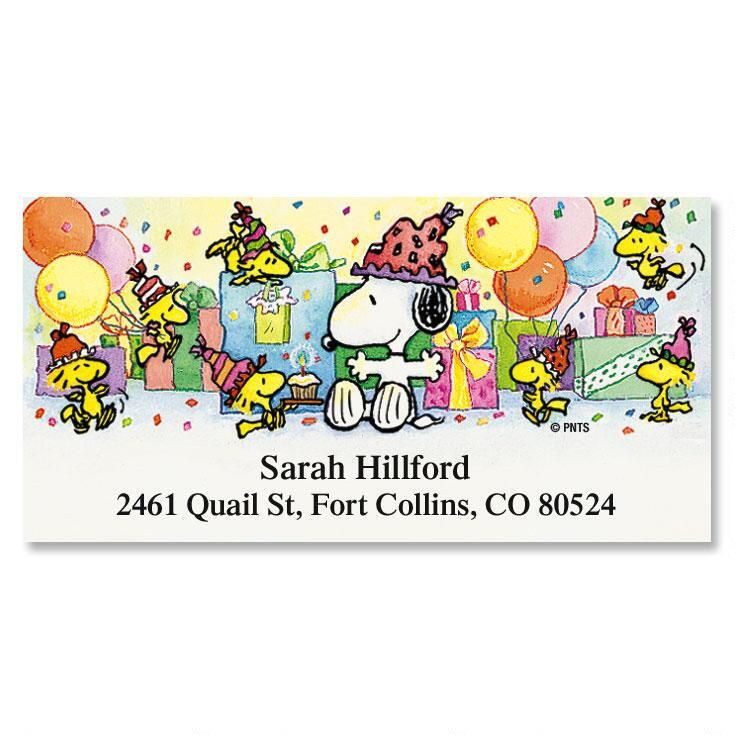 SNOOPY Year Round Deluxe Return Address Labels Colorful Images