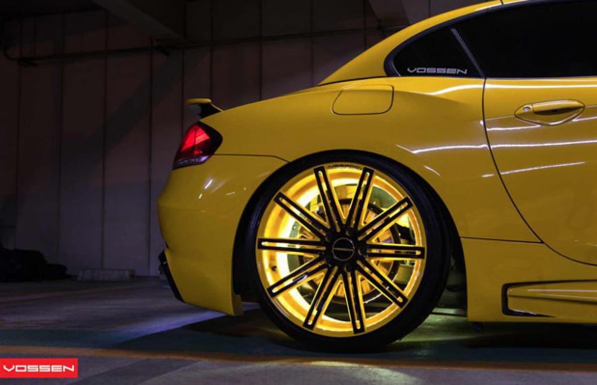 Stunt Wallpaper Hd Vossen Wheels Goes Yellow With This Tron Like Bmw Z4 Complex
