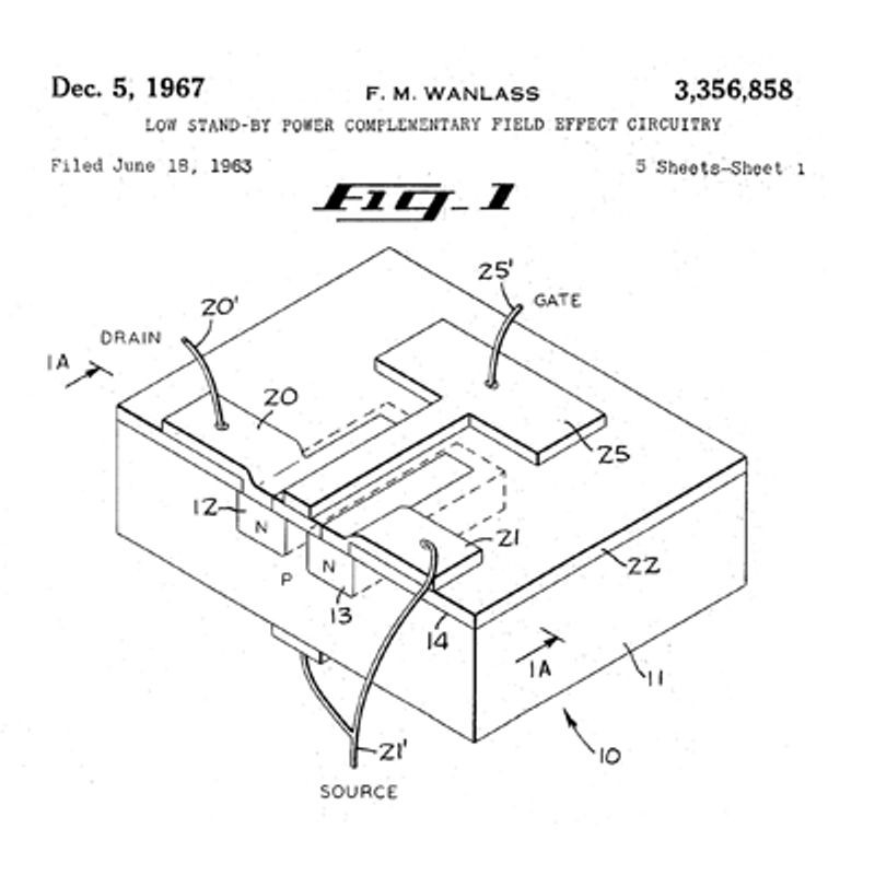 1963 Complementary MOS Circuit Configuration is Invented The