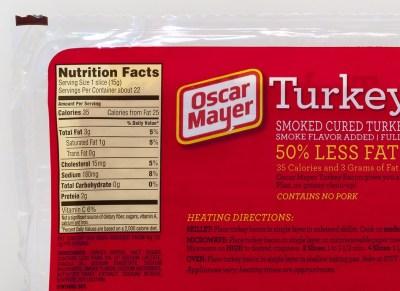 Oscar Mayer Turkey Bacon Nutrition Label