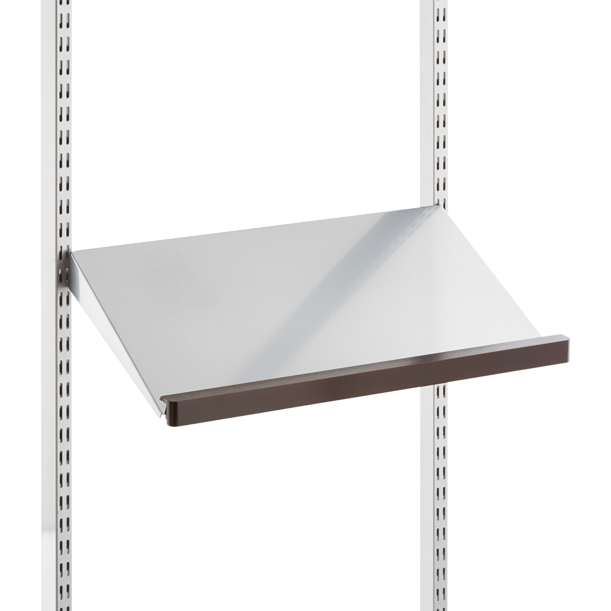Angle Wall Shelf White Elfa Angled Solid Metal Shelves The Container Store