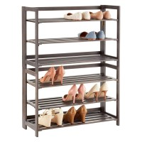 3-Tier Driftwood Folding Shoe Rack | The Container Store