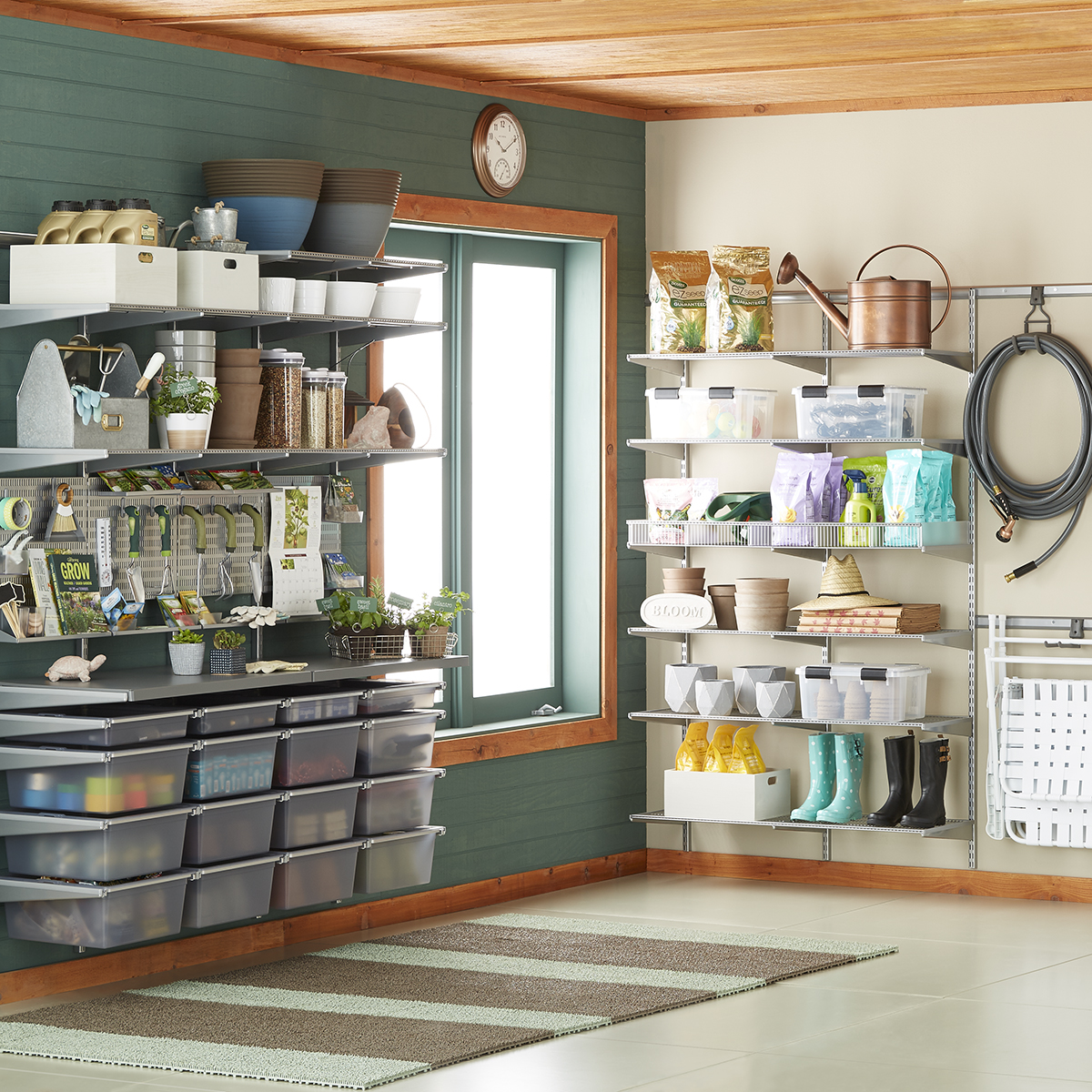 Elfa Storage System Platinum Elfa Utility Garage The Container Store