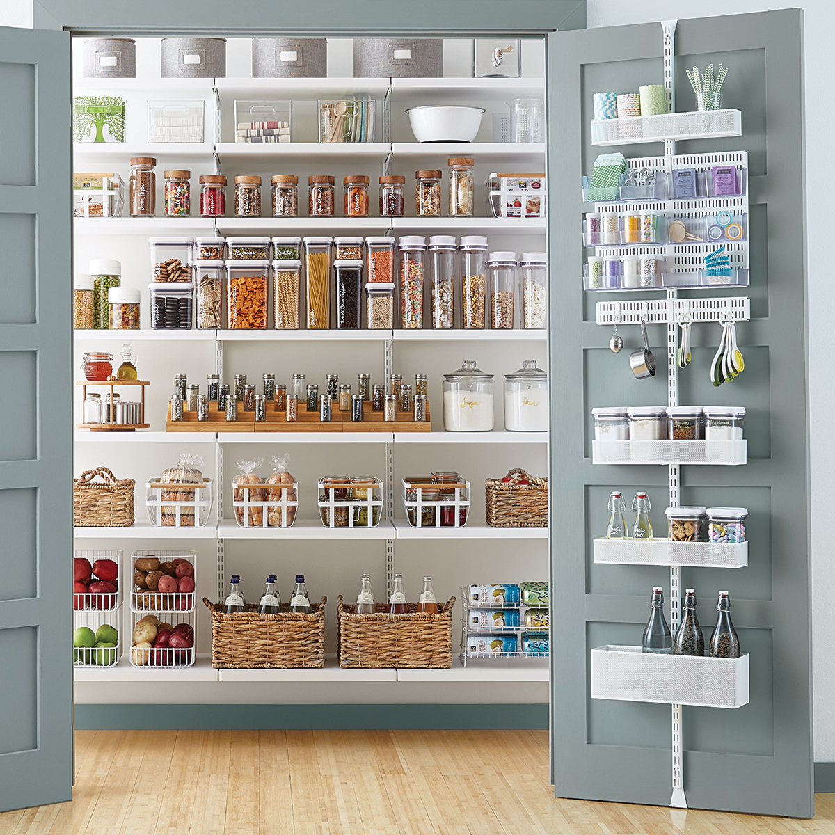Elfa Storage System Elfa Utility White Mesh Pantry Door And Wall Rack The